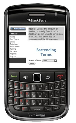 Bartender Toolkit using Blackberry